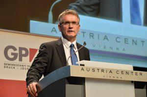 Rede vor 2.000 Bank-Austria-Beschäftigten im Austria Center im Dezember 2015 (Foto: wdw)