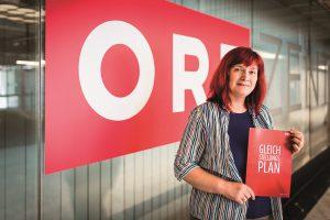 Christiana Jankovics ist Betriebsratsvorsitzende beim ORF im Bereich Fernsehprogramm. Nach massivem Lobbying hat sie mit den ORF-Frauen erste Erfolge zu verzeichnen. Foto: ÖGB-Verlag, Michael Mazohl