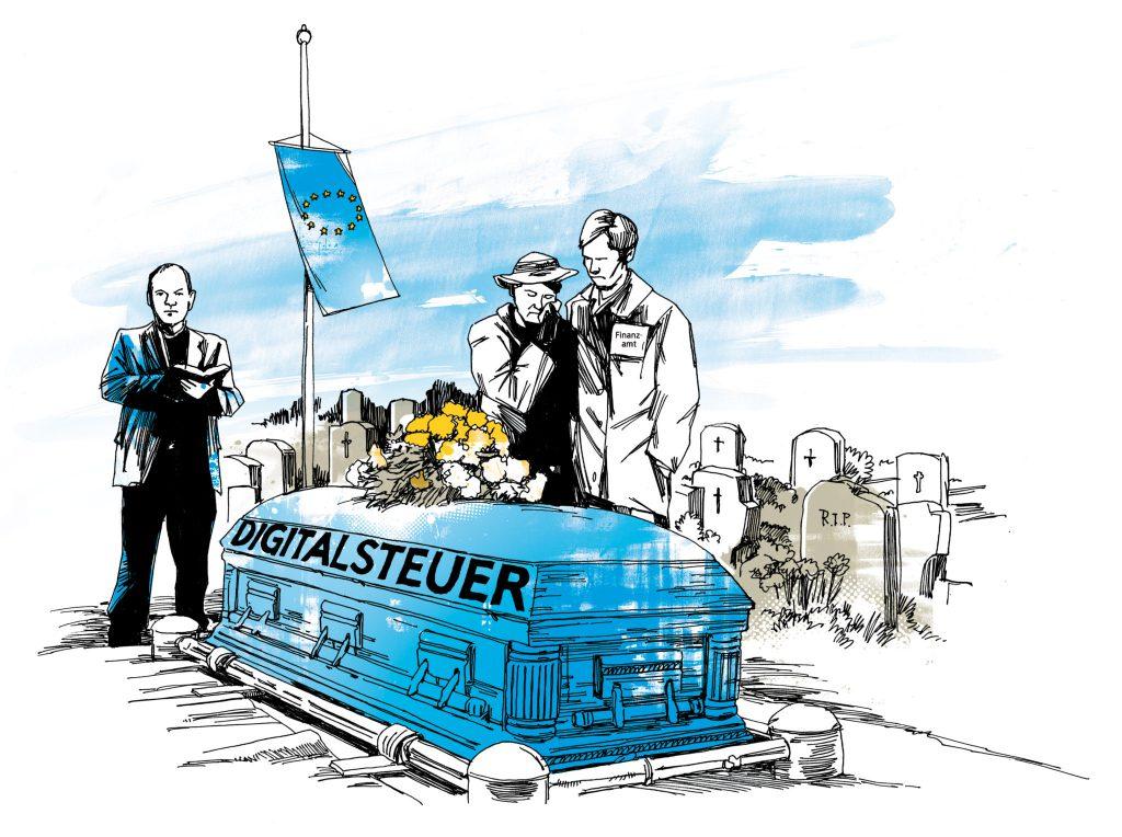 Das gemeinsame Projekt Digitalsteuer wurde von den EU-Finanzministern für tot erklärt. Illustration Peter M. Hoffmann